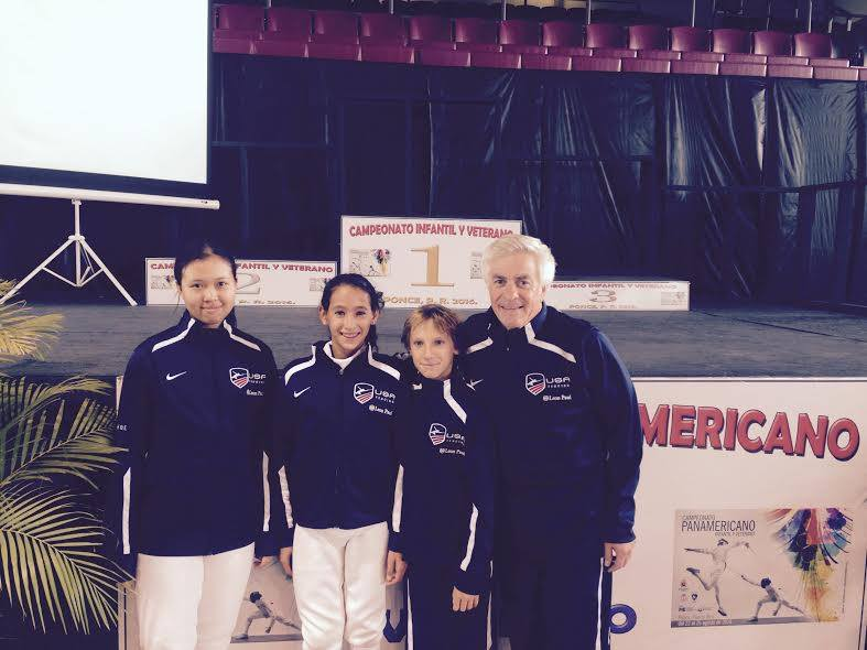 Academy of Fencing Masters at Pan American Youth and Veteran championship 2016 : From left to right: Andrea leang, Leehi Machulsky, Adam Chirashnya and Alan Buchwald
