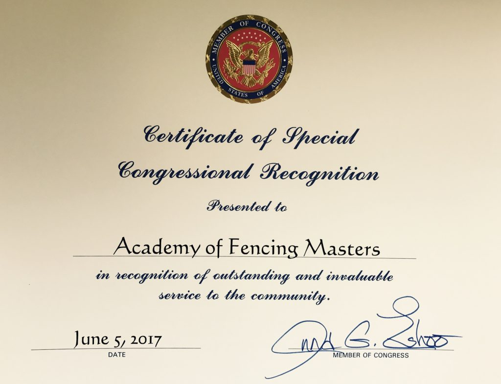 Certificate of Special Congressional Recognition - Academy of Fencing Masters