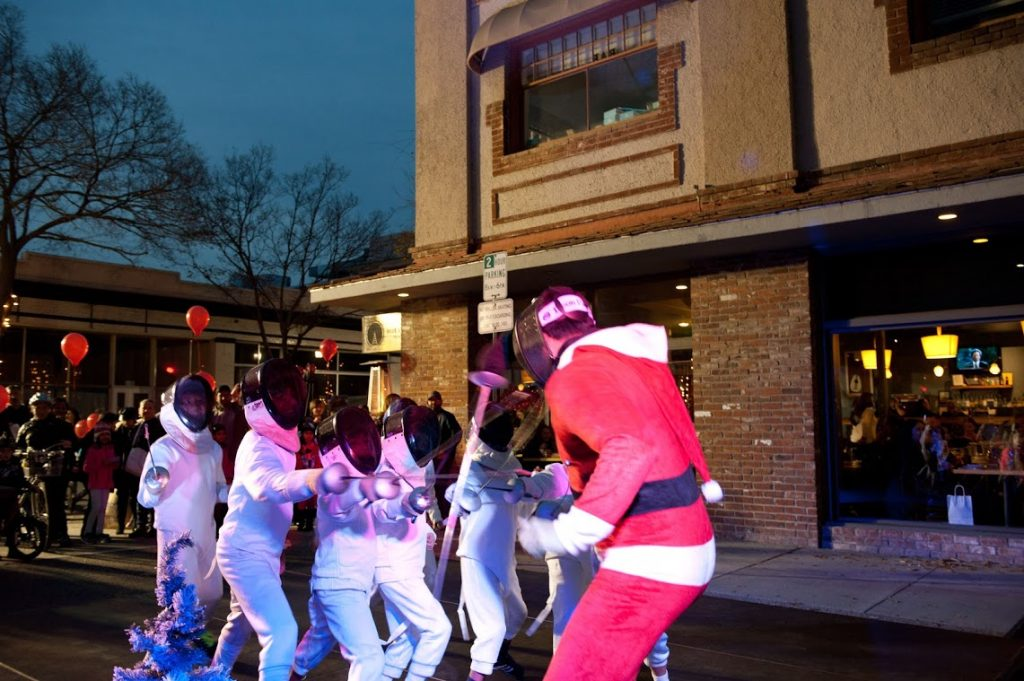holiday fencing funnies - fencing against Santa Claus at Campbell Carol of Lights