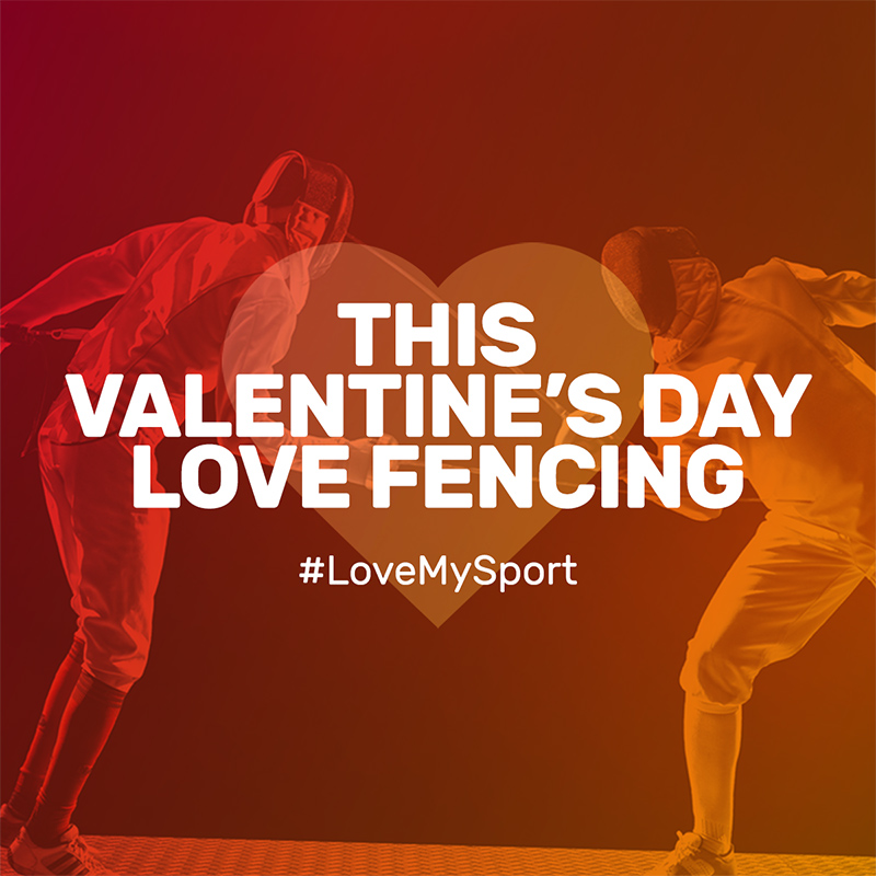 Love of sport - love fencing valentine day