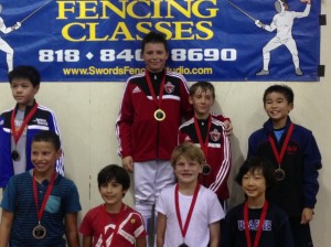 Bartosz Kuligowski took Gold and William Elloway took Bronze at SoCal RYC in Y10 Men's Epee Fencing Tournament in Pasadena - September 2014