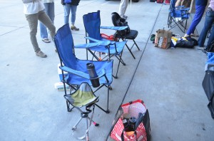Fencing parents base camp during competition