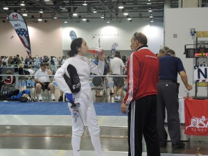 Strip Coaching - Coach Alexandr and Taly Yukelson at Fencing Summer Nationals 2014 in Columbus, Ohio